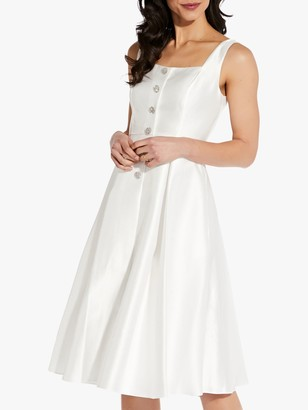 Adrianna Papell Mikado Tea Length Button Front Dress