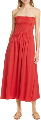La Ligne Meredith Smocked Bodice Strapless Midi Dress