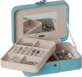 Mele Giana Aqua Plush Fabric Jewelry Box w/ Lift-Out Tray