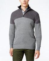 Tricots St. Raphael Men's Texture Colorblocked Quarter-Zip Sweater