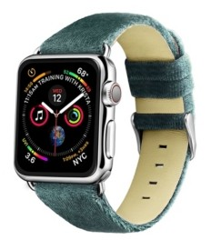 Posh Tech Men's and Women's Apple Moss Green Wool Velvet, Leather, Stainless Steel Replacement Band 44mm