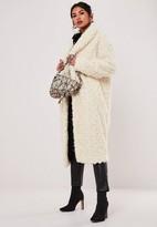 Missguided Petite Cream Borg Teddy Curly Shawl Collar Coat
