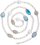 Margot McKinney Jewelry Denim Blue Topaz & South Sea Pearl Station Necklace