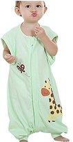 Quavey Baby Soft Sleep Bag Cotton Detachable Long Sleeves Wearable Blanket Sleep sack with Feet,Small