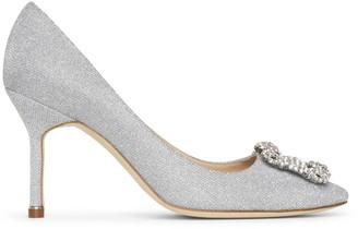 Manolo Blahnik Hangisi 90 silver glitter pumps