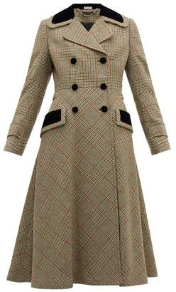 Miu Miu Checked Double-breasted Wool-blend Coat - Womens - Green Multi