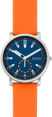 Skagen Men's Colden 3-Hand Orange Silicone Watch, 40mm