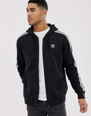 adidas Zip Hoodie with Small Trefoil Logo Black DV1551