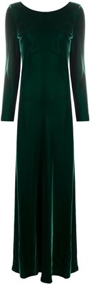 Alberta Ferretti Long-Sleeve Maxi Dress