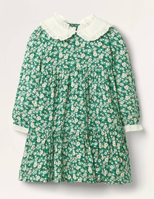 Lace Collar Tiered Woven Dress