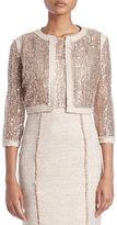 Kay Unger Embellished Tweed-Trim Jacket