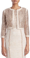 Kay Unger Three Quarter-Sleeve Lace Sequin Jacket