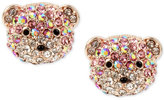 Betsey Johnson Rose Gold-Tone Glitter Bear Stud Earrings