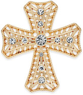 Charter Club Gold-Tone Crystal Cross Brooch, Only at Macy's