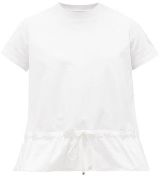 Moncler Logo-patch Soft-shell Peplum T-shirt - Womens - White