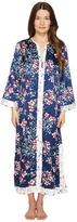 Oscar de la Renta Floral Print Silky Charmeuse 51 Zip Front Caftan Women's Robe