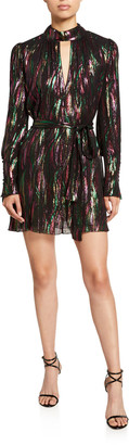 Saloni Tania Metallic Keyhole Mini Dress