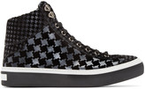 Jimmy Choo Black Houndtooth Argyle High-Top Sneakers