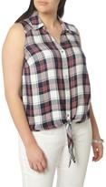 Evans Plus Size Women's Plaid Twill Tie Front Shirt