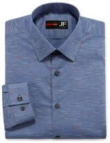 Jf J.Ferrar Easy-Care Solid Stretch Long Sleeve Woven Pattern Dress Shirt - Slim