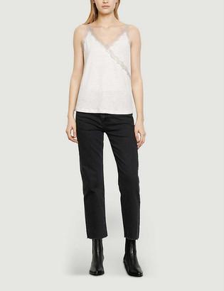 Sandro Lamia lace-trim linen camisole