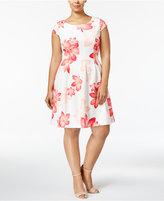 Calvin Klein Plus Size Floral-Print Fit & Flare Dress