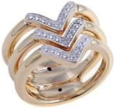 "Technibond Diamond-Accented 3-Row ""Arrow"" Ring"