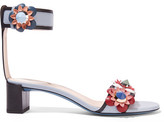 Fendi Floral-appliquéd Leather Sandals - Light blue
