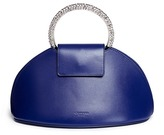 Calvin Klein 'Dome' jewelled handle leather evening bag
