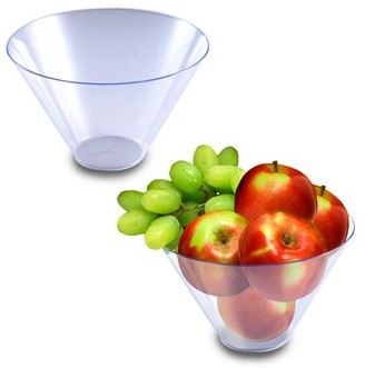 clear Smarty Had A Party Plastic Round Serving Bowls 96oz - Disposable or Reusable (24 Bowls)