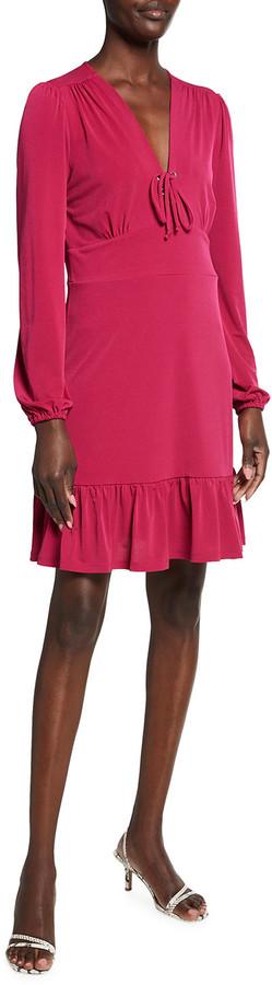 MICHAEL Michael Kors Lace-Up Long Sleeve Matte Jersey Dress