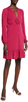 MICHAEL Michael Kors Lace-Up Long Sleeve Matte Jersey Dress