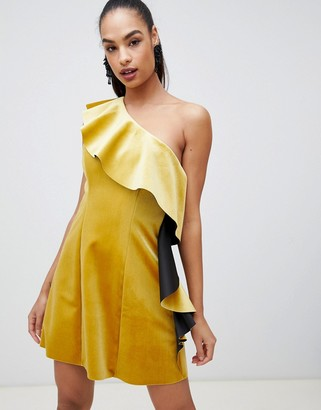 ASOS DESIGN velvet one shoulder ruffle mini dress
