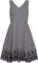 Yumi Stripe Embroidered Hemline Dress