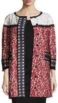 Andrew Gn 3/4-Sleeve Colorblock Lace Coat, Cherry