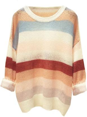 Goodnight Macaroon 'Hettie' Color Block Mohair Sweater (2 Colors)
