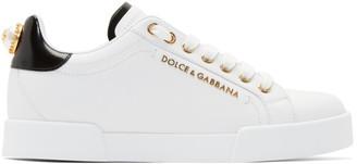 Dolce & Gabbana White Pearl Portofino Sneakers