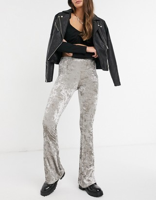 Topshop velvet flared trousers in silver