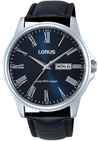 Lorus Rxn13dx9 Day Date Leather Strap Watch, Black/blue