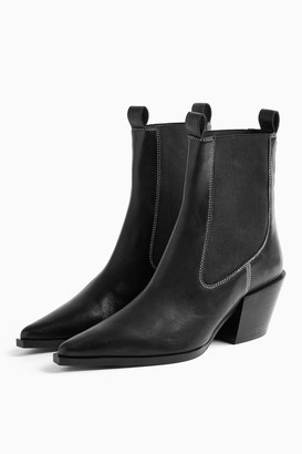 Topshop MYSTERY Black Leather Western Boots