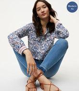 LOFT Modern Unpicked Skinny Jeans in Bright Mid Indigo Wash