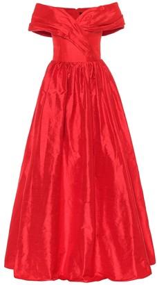 Rasario Off-the-shoulder silk-satin gown