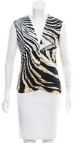 Roberto Cavalli Ruched Abstract Print Top