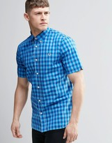 Fred Perry Shirt In Slim Fit In Bold Check In Blue Short Sleeve
