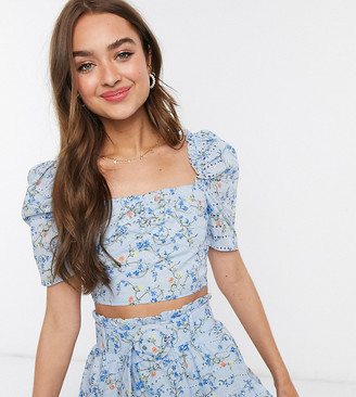Collective The Label Petite printed broderie crop top co ord in blue