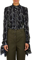 Proenza Schouler Women's Tree-Stem-Print Silk Blouse-BLACK