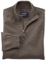 Charles Tyrwhitt Brown cotton cashmere zip neck jumper