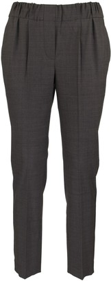 Brunello Cucinelli Tailored Jogger Trousers In Tropical Luxury Wool With Shiny Stripe Grey