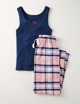 Long Pyjama Set Indigo/Pink Check Girls Boden