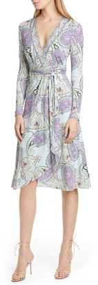 Etro Paisley Long Sleeve Jersey Wrap Dress